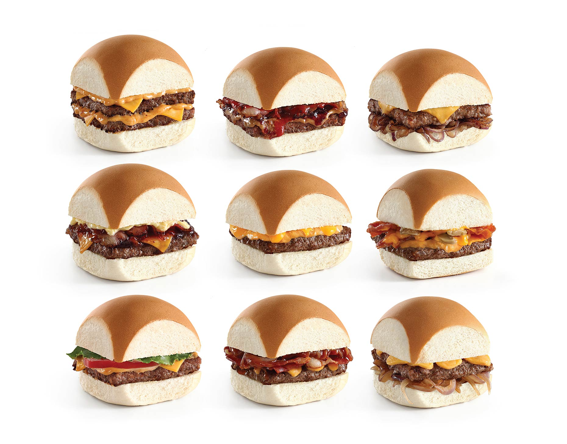 burgers composite images on white background