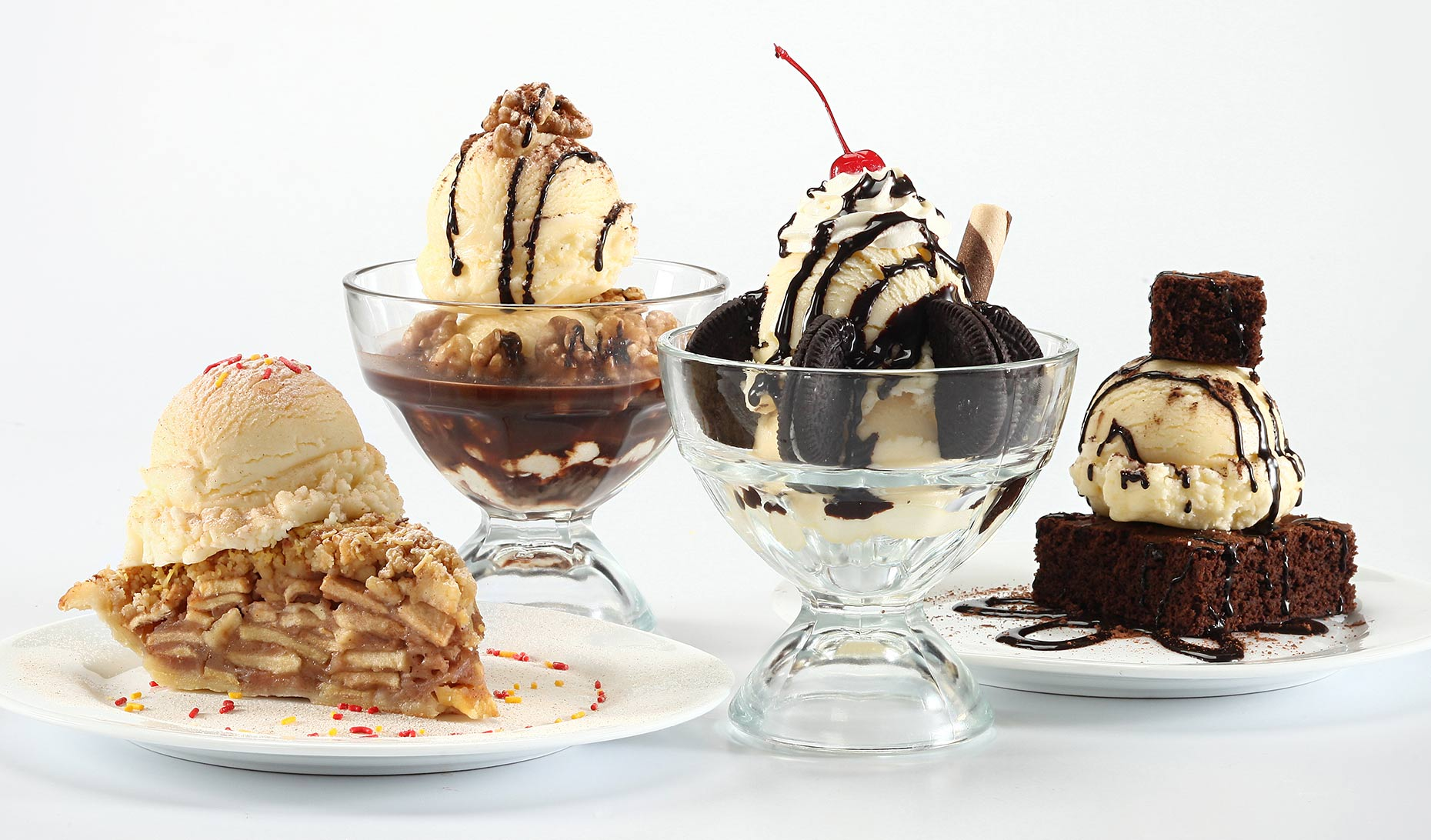 ice cream dishes on white background