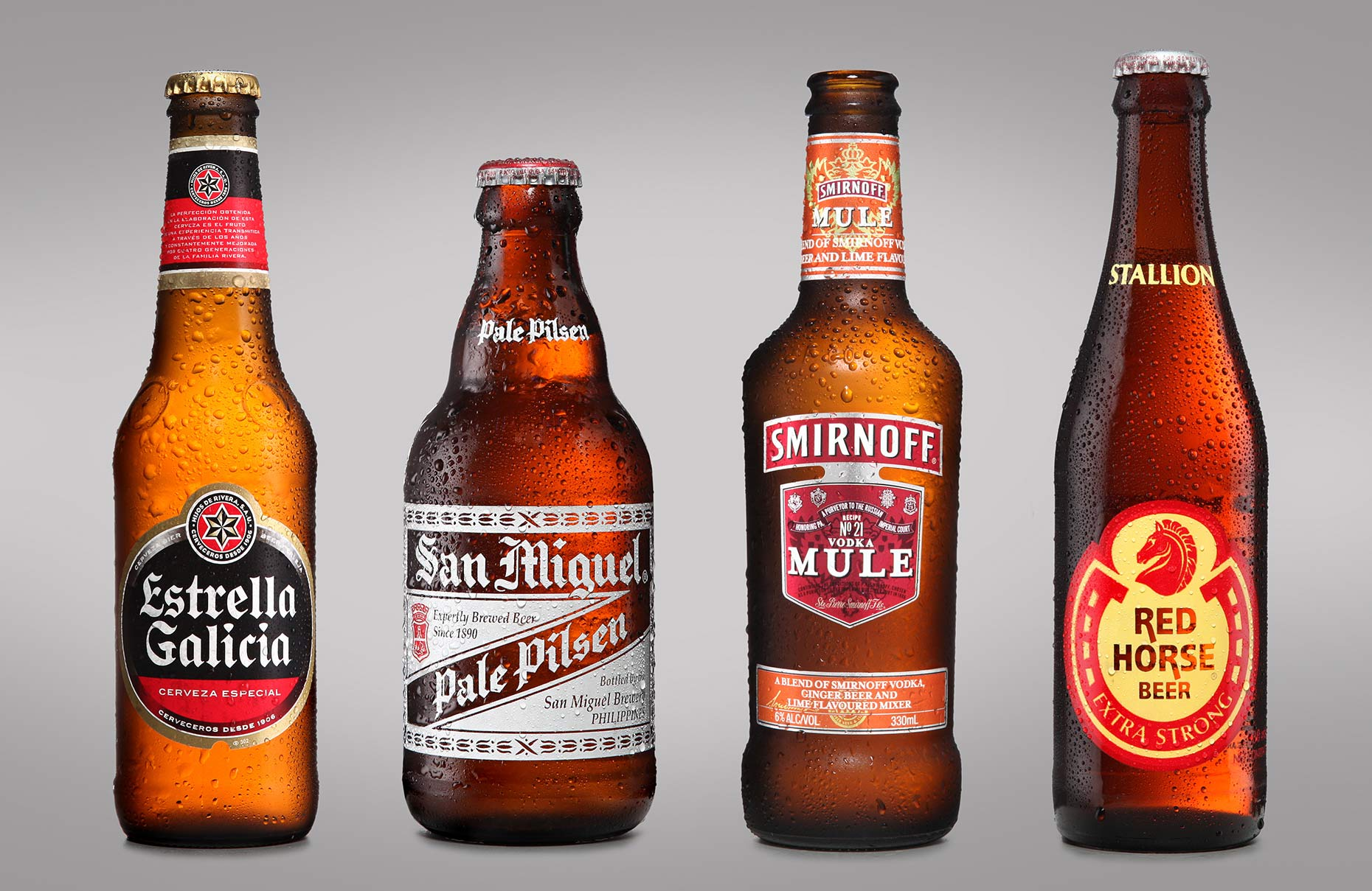 product photography of beer bottles