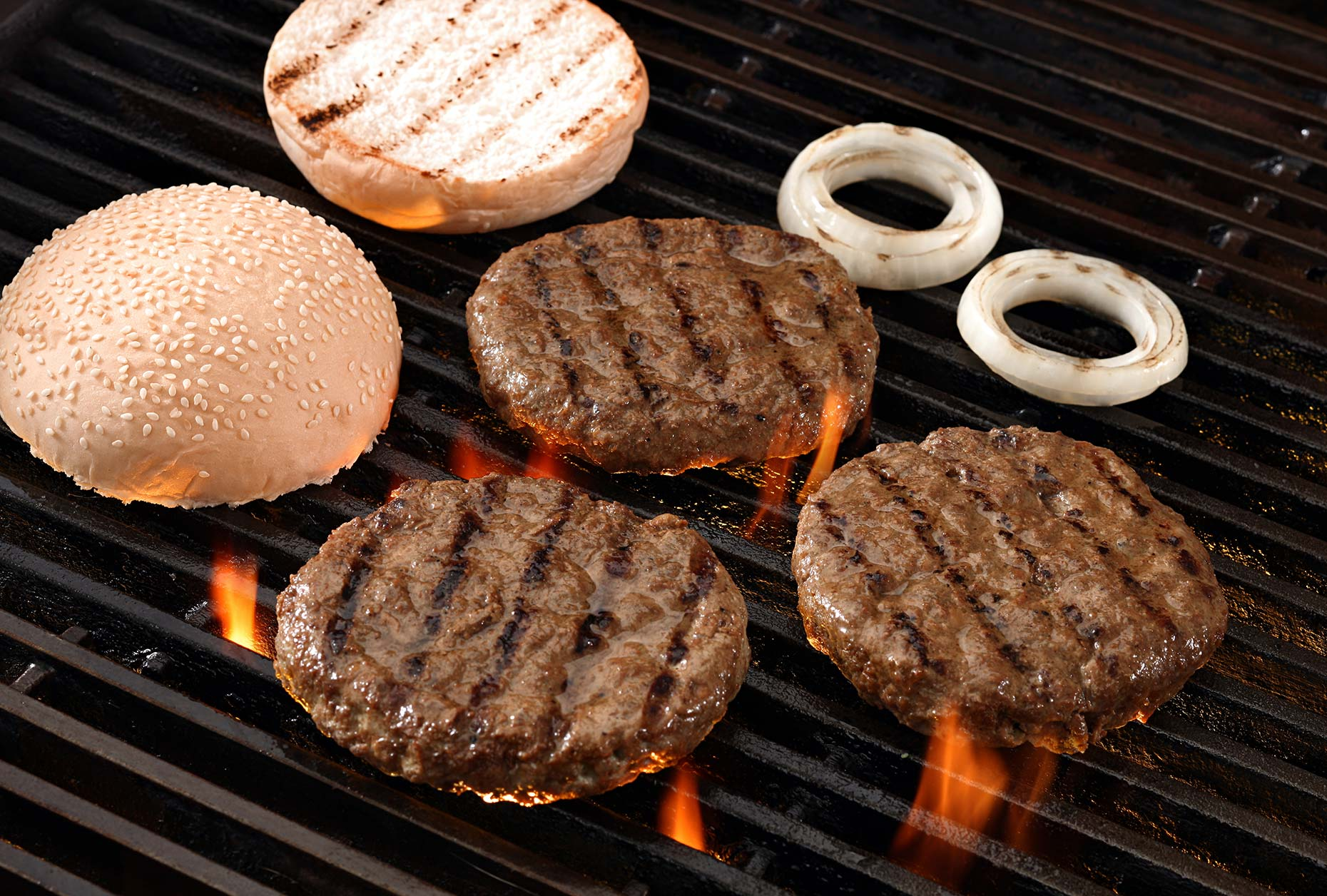 grilled burgers shot in the studio