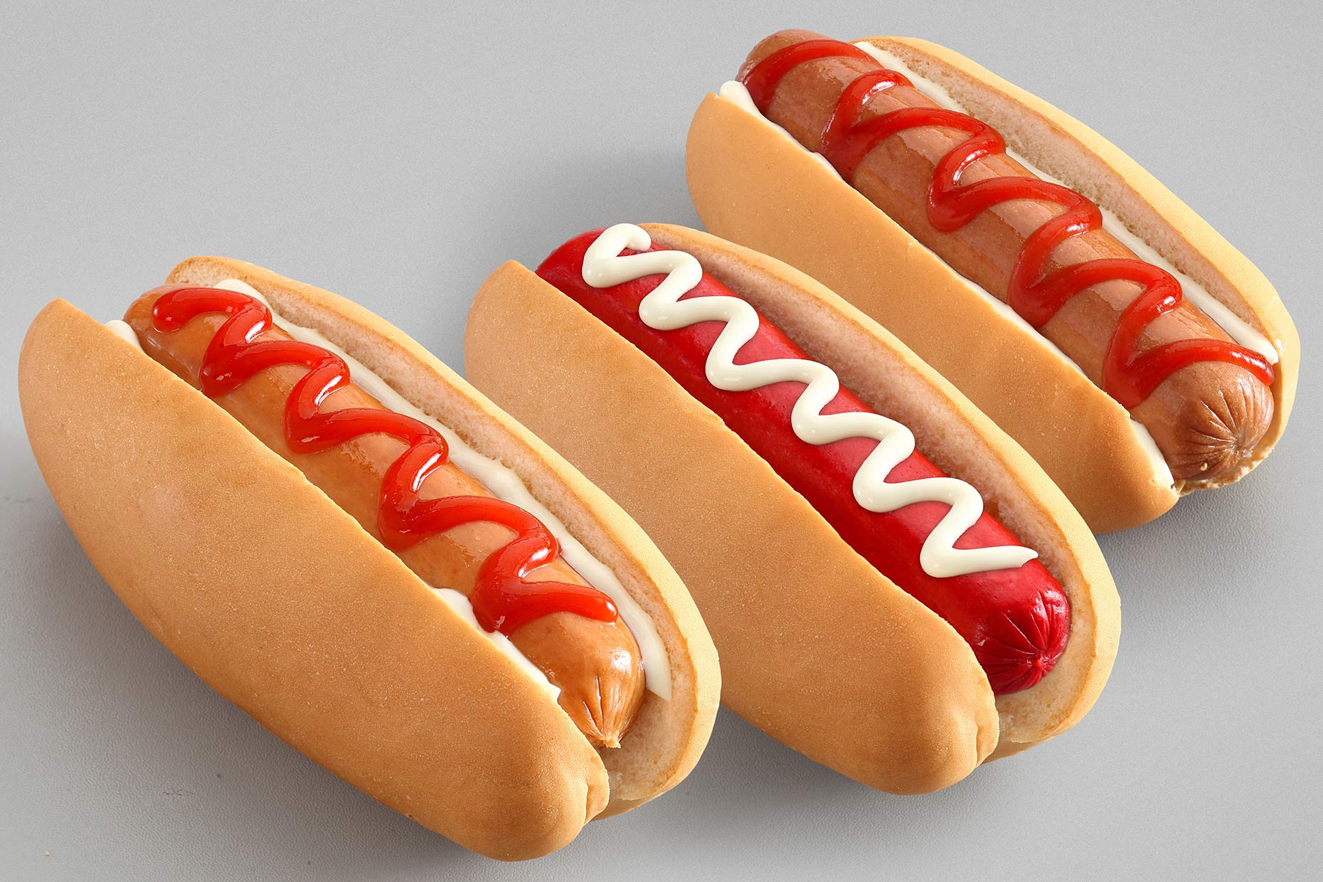 hotdogs on gray background