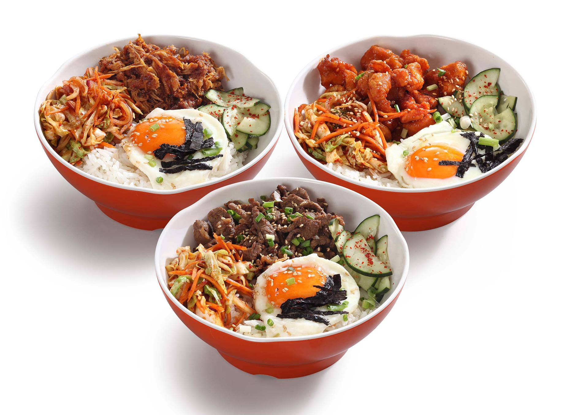 korean bowls on white background
