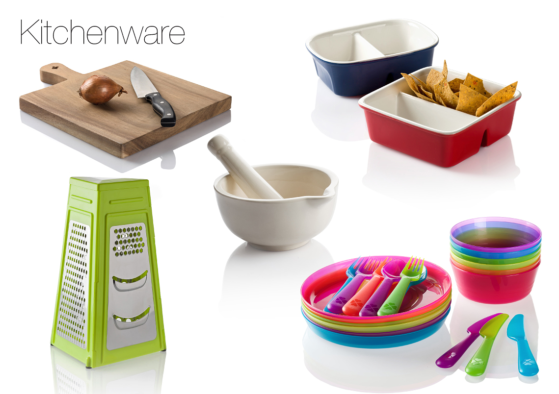product photography of kitchen  items catalog style