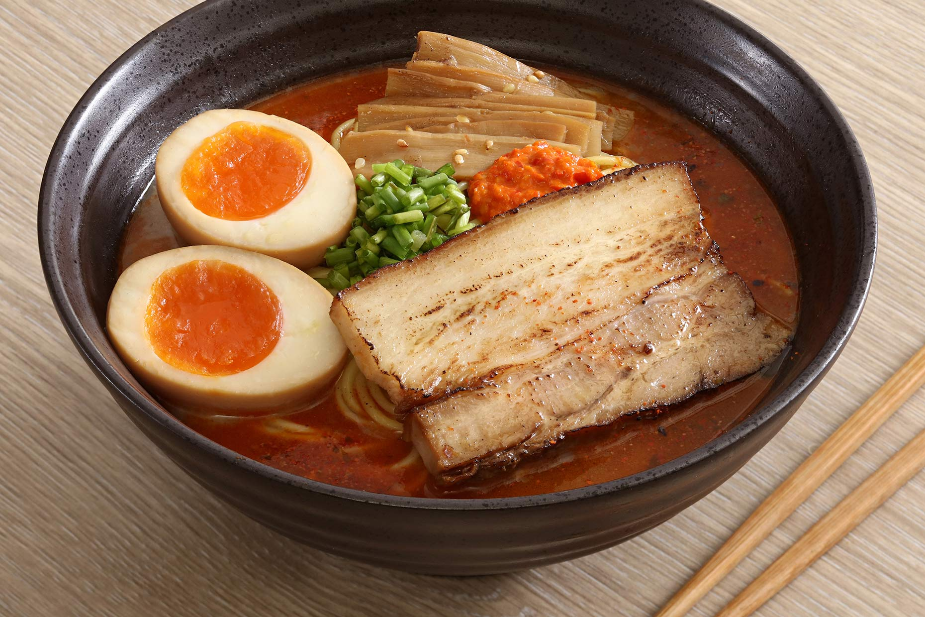 Japanese ramen. Food photography and food styling for Menia restaurant. Shot at RJP Studio in Quezon City , Manila.