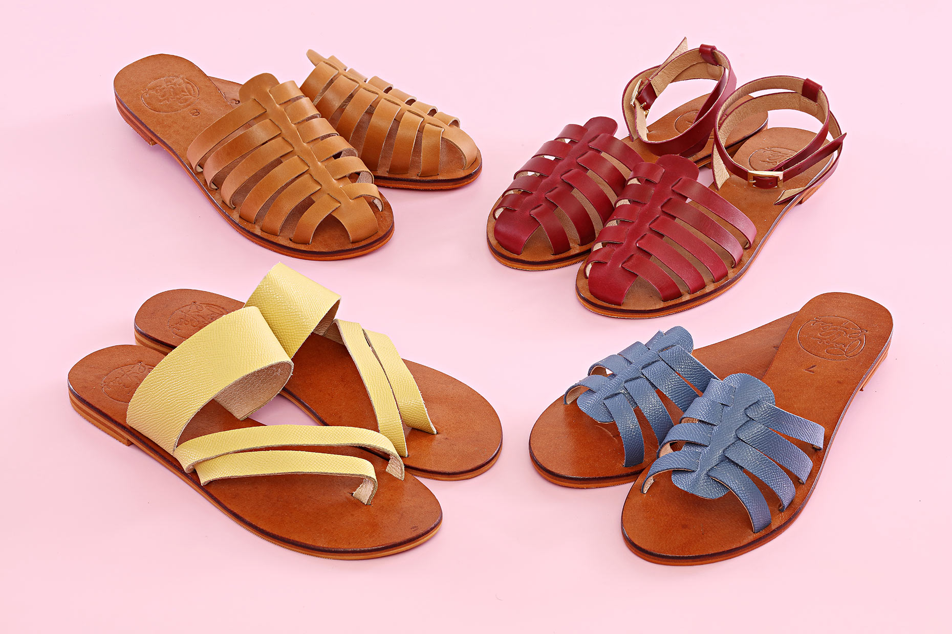 sandals-on-pink-background